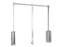 Sklopná šatní tyč SLING - chrom, šedý plast 830-1150x126x840 mm