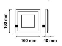 LED svítidlo vestavné Glass 160x160 mm 12W teplá bílá 840 lm(3201575608)