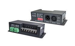 Převodník DMX512/PWM čtyřkanálový černý-Umožňuje řízení vícekanálových (RGBW) PWM LED sestav signálem DMX512