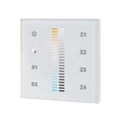 Ovladač dotykový AC 230V čtyřzónový CTA inteligentní na stěnu bílý-Pro řízení LED osvětlovacích sestav s řízením barevné teploty (CCT) - vysílač