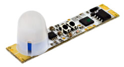 Pohybový PIR spínač do profilu SOUMRAK LUX A zvýšený 45x10x16mm 7,5A 12V DC (90W-Pohybový PIR spínač do LED profilu s rozsáhlými funkčními možnostmi