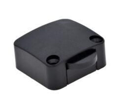Vypínač mechanický 12V/max.2A, 34x32x15mm, černý-Spínač pro osvětlení vnitřního  prostoru skříně při otevření dveří