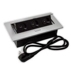 Zásuvka FLEXI 3 x 230 V AC (10 A) stříbrná-Zásuvky s připojenými kabely 250V Vám ušetří 30 minut práce odborníka!