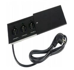 Zásuvka MODUL 3 x 230 V AC (10 A) černá-Sada zásuvek pro zapuštění do nábytku.