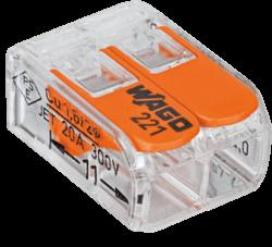 WAGO svorka s páčkou 222-412, 1x2pin-Bezšroubá svorkovnice pro spojení maximálně dvou vodičů