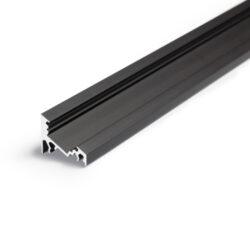 Profil WIRELI CORNER10 BC/UX černý elox, 2m (metráž)-Universální npřisazený úhlový  profil se svitem v úhlu 60° nebo 30°, s bohatou výbavou doplňků pro montáž a různými druhy difůzorů. Snadná práce a profesionální vzhled.