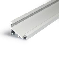 Profil WIRELI CORNER27 G/UX stříbrný elox, 2m (metráž)-Universální přisazený úhlový  profil se svitem v úhlu 60° nebo 30°, s bohatou výbavou doplňků pro montáž a různými druhy difůzorů. Snadná práce a profesionální vzhled.