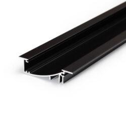 Profil WIRELI FLAT8 H/UX černá anoda, 2m (metráž)-Hliníkový LED profil s nepřímým svícením.