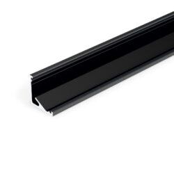 Profil WIRELI CABI12 E/ černý elox, 2m (metráž)-Universální rohový LED profil umožňující montáž se směrem svitu 60°nebo 30°.