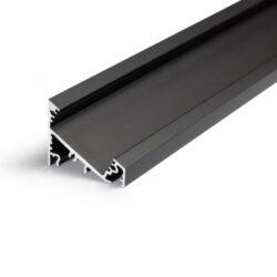 Profil WIRELI CORNER27 G/UX černý elox, 2m (metráž)-Universální přisazený úhlový  profil se svitem v úhlu 60° nebo 30°, s bohatou výbavou doplňků pro montáž a různými druhy difůzorů. Snadná práce a profesionální vzhled.