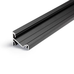 Profil WIRELI CORNER14 EF/Y černý elox, 2m (metráž)-Universální přisazený úhlový  profil se svitem v úhlu 60° nebo 30°, s bohatou výbavou doplňků pro montáž a různými druhy difůzorů. Snadná práce a profesionální vzhled.